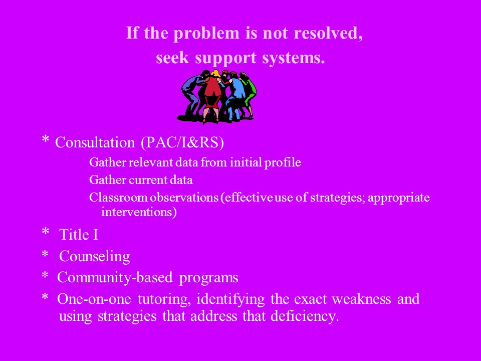 If the problem is not resolved, seek support systems. * Consultation (PAC/I&RS) Gather relevant data from initial profile Gather current data Classroo