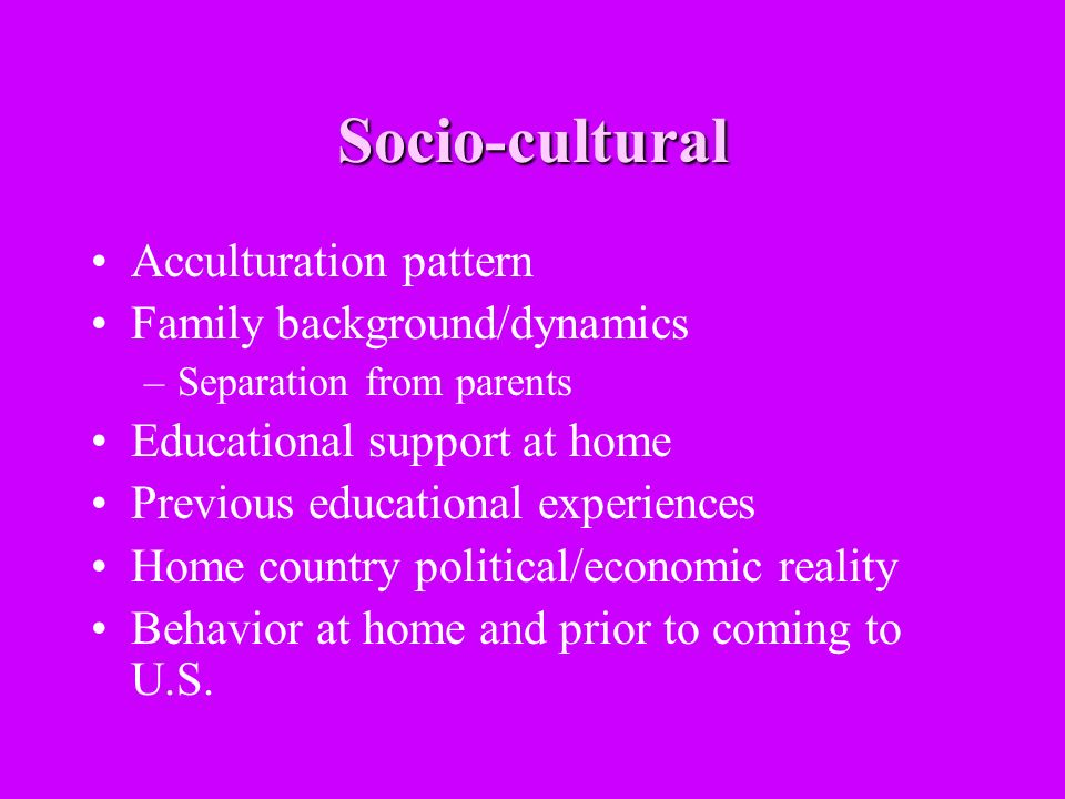 Socio-cultural Acculturation pattern Family background/dynamics –Separation from parents Educational support at home Previous educational experiences