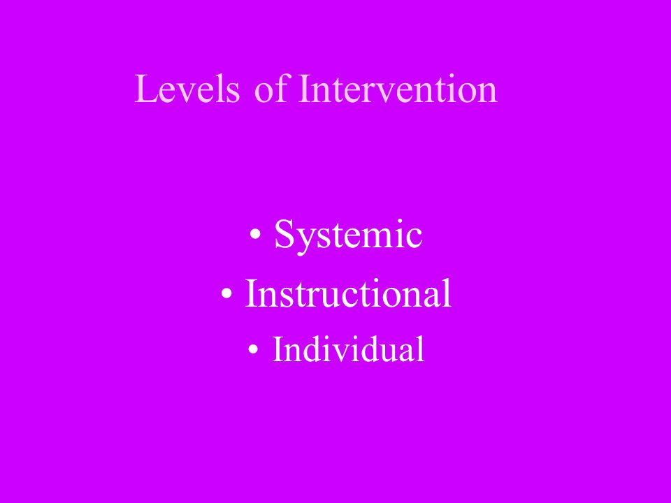 Levels of Intervention Systemic Instructional Individual