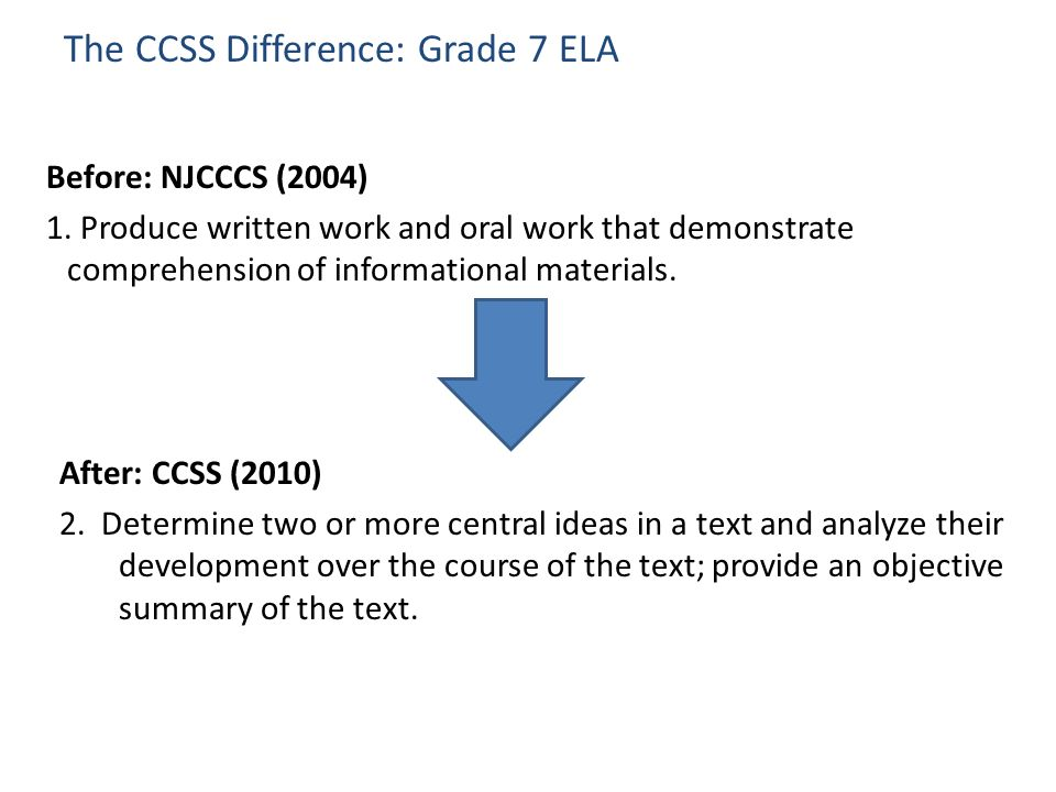 Clearer … The CCSS Difference: Grade 7 ELA Before: NJCCCS (2004) 1. Produce written work and oral work that demonstrate comprehension of informational