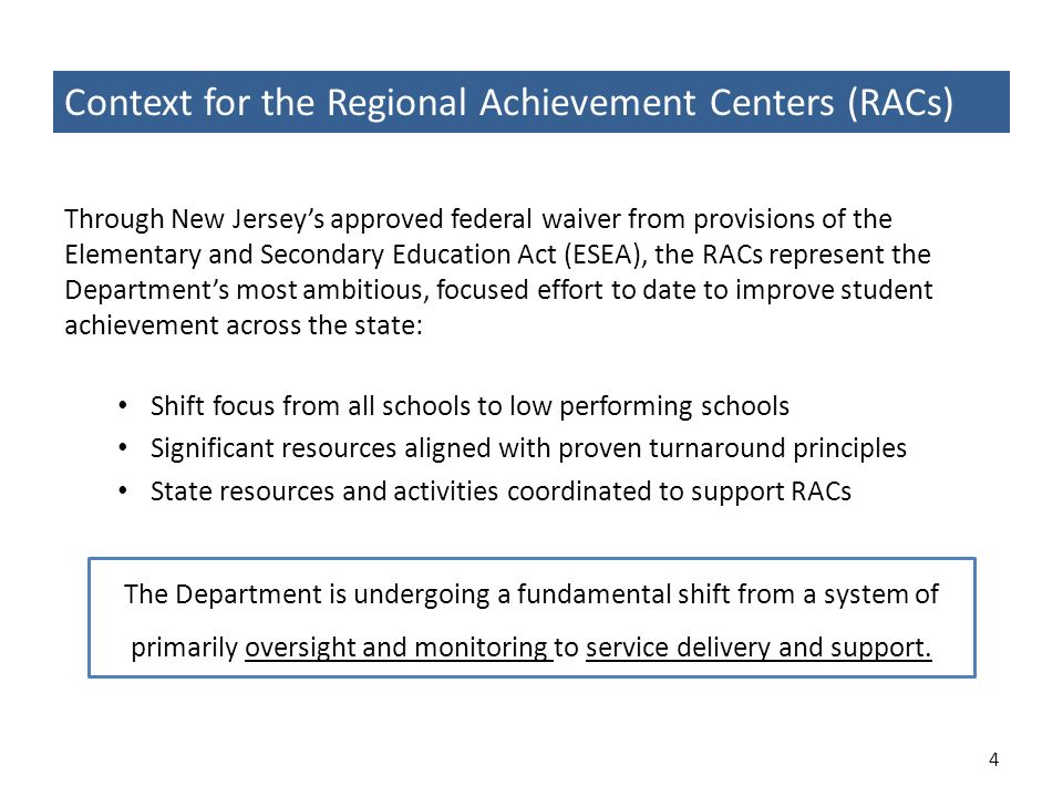 Context for the Regional Achievement Centers (RACs) Through New Jerseys approved federal waiver from provisions of the Elementary and Secondary Educat