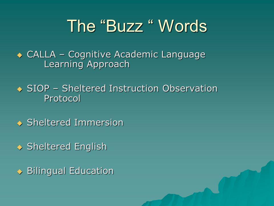 The Buzz Words CALLA – Cognitive Academic Language Learning Approach CALLA – Cognitive Academic Language Learning Approach SIOP – Sheltered Instructio