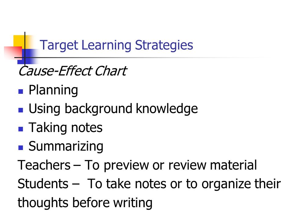 Target Learning Strategies Cause-Effect Chart Planning Using background knowledge Taking notes Summarizing Teachers – To preview or review material St