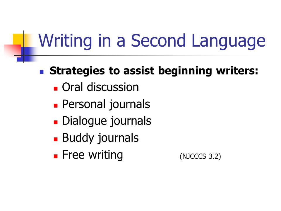 Writing in a Second Language Strategies to assist beginning writers: Oral discussion Personal journals Dialogue journals Buddy journals Free writing (