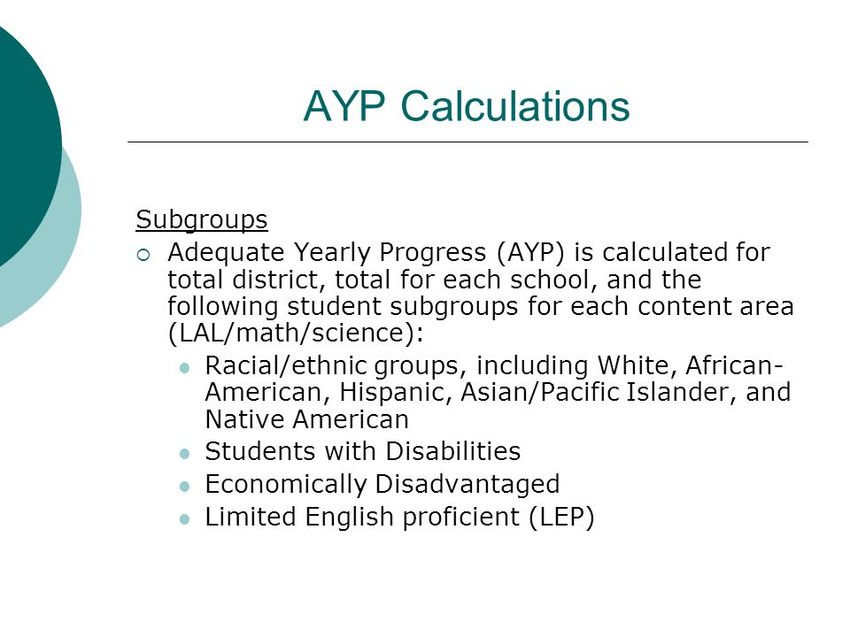 AYP Calculations Subgroups Adequate Yearly Progress (AYP) is calculated for total district, total for each school, and the following student subgroups
