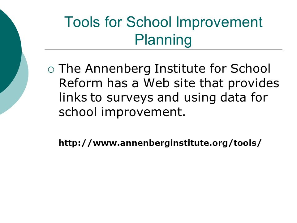 Tools for School Improvement Planning The Annenberg Institute for School Reform has a Web site that provides links to surveys and using data for schoo