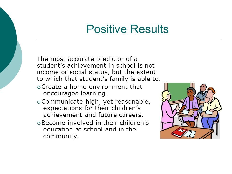Positive Results The most accurate predictor of a students achievement in school is not income or social status, but the extent to which that students