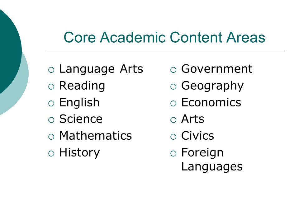 Core Academic Content Areas Language Arts Reading English Science Mathematics History Government Geography Economics Arts Civics Foreign Languages