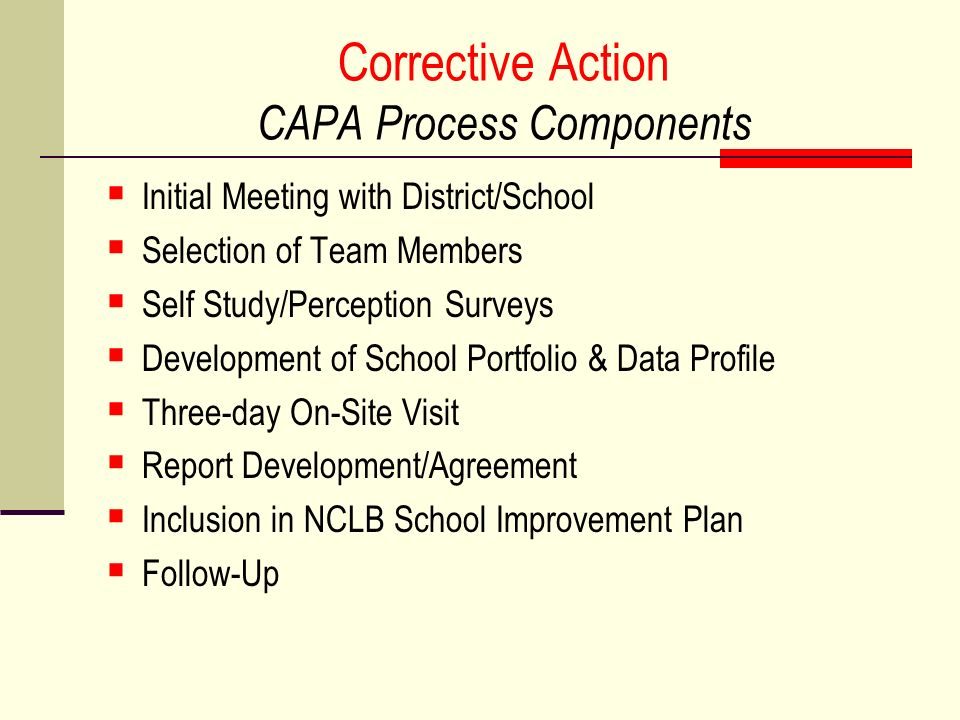 Corrective Action CAPA Process Components Initial Meeting with District/School Selection of Team Members Self Study/Perception Surveys Development of School Portfolio & Data Profile Three-day On-Site Visit Report Development/Agreement Inclusion in NCLB School Improvement Plan Follow-Up