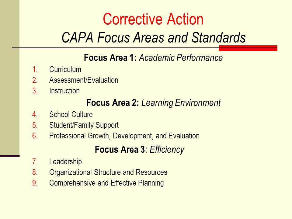 Corrective Action CAPA Focus Areas and Standards Focus Area 1: Academic Performance 1.Curriculum 2.Assessment/Evaluation 3.Instruction Focus Area 2: L