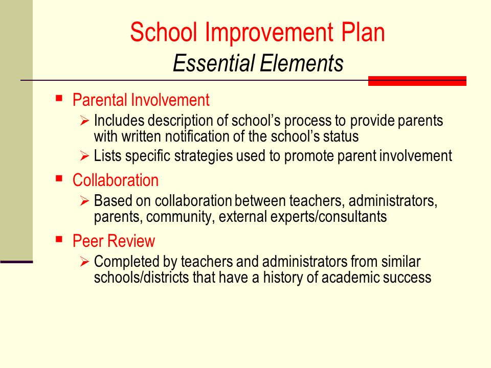 School Improvement Plan Essential Elements Parental Involvement Includes description of schools process to provide parents with written notification of the schools status Lists specific strategies used to promote parent involvement Collaboration Based on collaboration between teachers, administrators, parents, community, external experts/consultants Peer Review Completed by teachers and administrators from similar schools/districts that have a history of academic success
