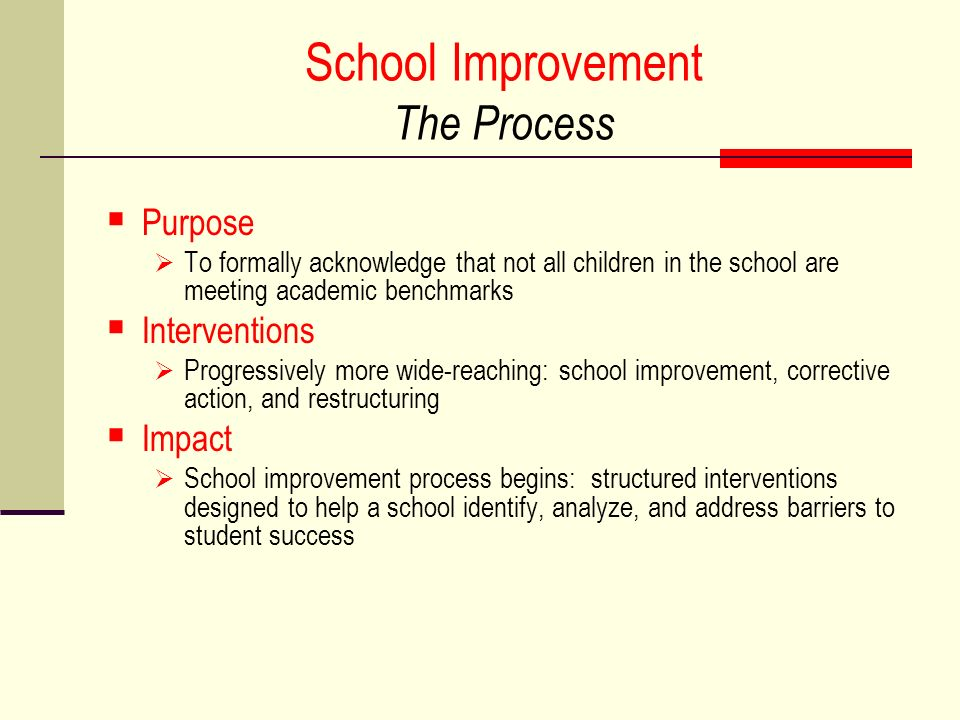 School Improvement The Process Purpose To formally acknowledge that not all children in the school are meeting academic benchmarks Interventions Progressively more wide-reaching: school improvement, corrective action, and restructuring Impact School improvement process begins: structured interventions designed to help a school identify, analyze, and address barriers to student success