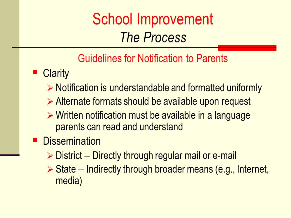School Improvement The Process Guidelines for Notification to Parents Clarity Notification is understandable and formatted uniformly Alternate formats should be available upon request Written notification must be available in a language parents can read and understand Dissemination District Directly through regular mail or e-mail State Indirectly through broader means (e.g., Internet, media)
