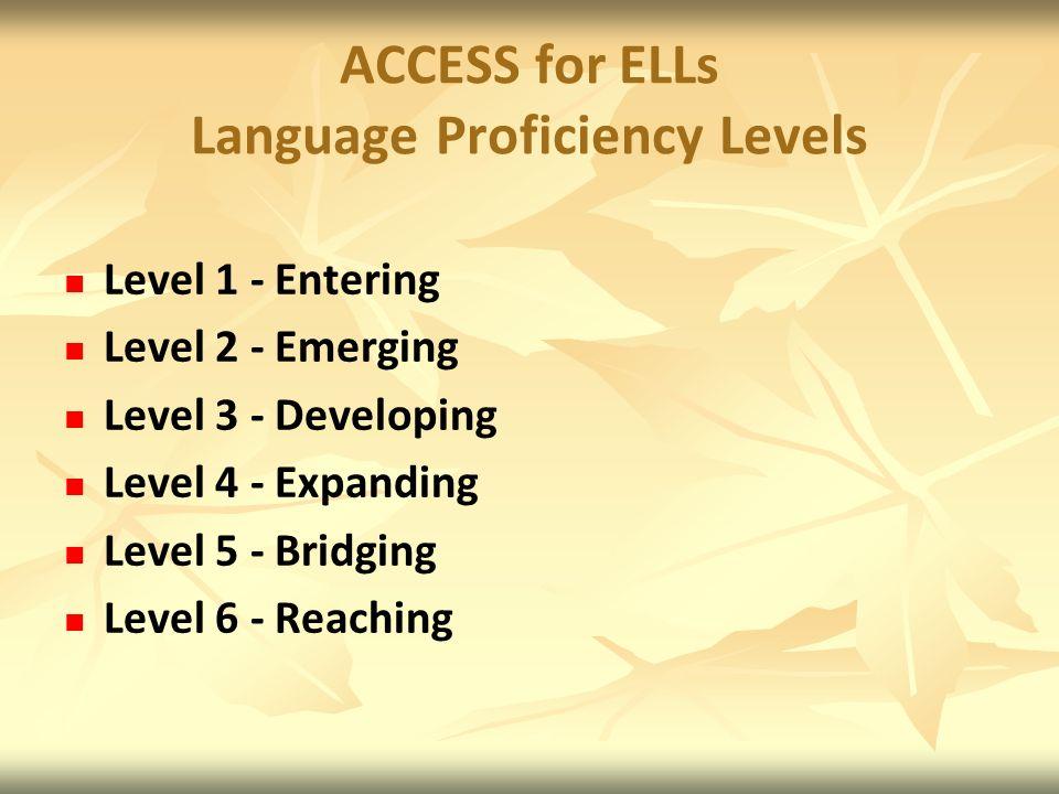 ACCESS for ELLs Language Proficiency Levels Level 1 - Entering Level 2 - Emerging Level 3 - Developing Level 4 - Expanding Level 5 - Bridging Level 6 - Reaching