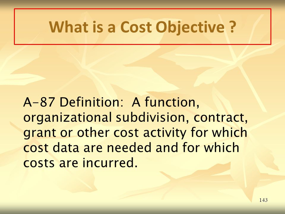 What is a Cost Objective .