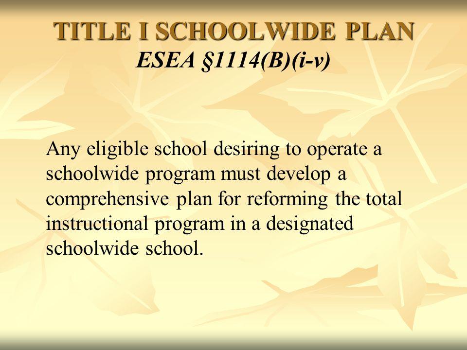 TITLE I SCHOOLWIDE PLAN TITLE I SCHOOLWIDE PLAN ESEA §1114(B)(i-v).