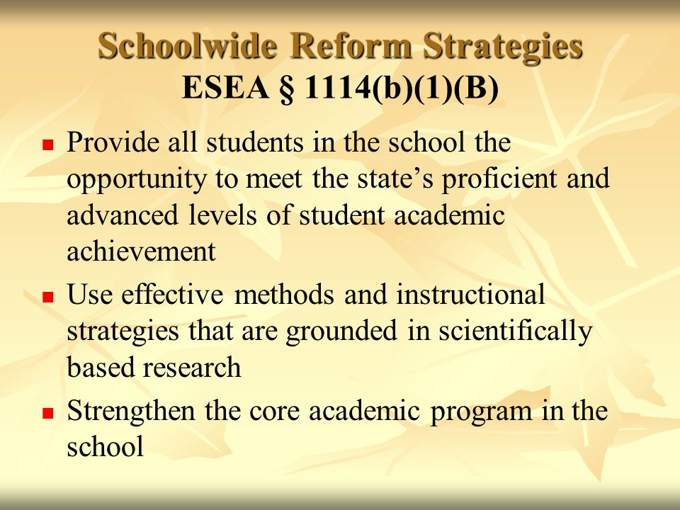 Schoolwide Reform Strategies Schoolwide Reform Strategies ESEA § 1114(b)(1)(B) Provide all students in the school the opportunity to meet the states proficient and advanced levels of student academic achievement Use effective methods and instructional strategies that are grounded in scientifically based research Strengthen the core academic program in the school