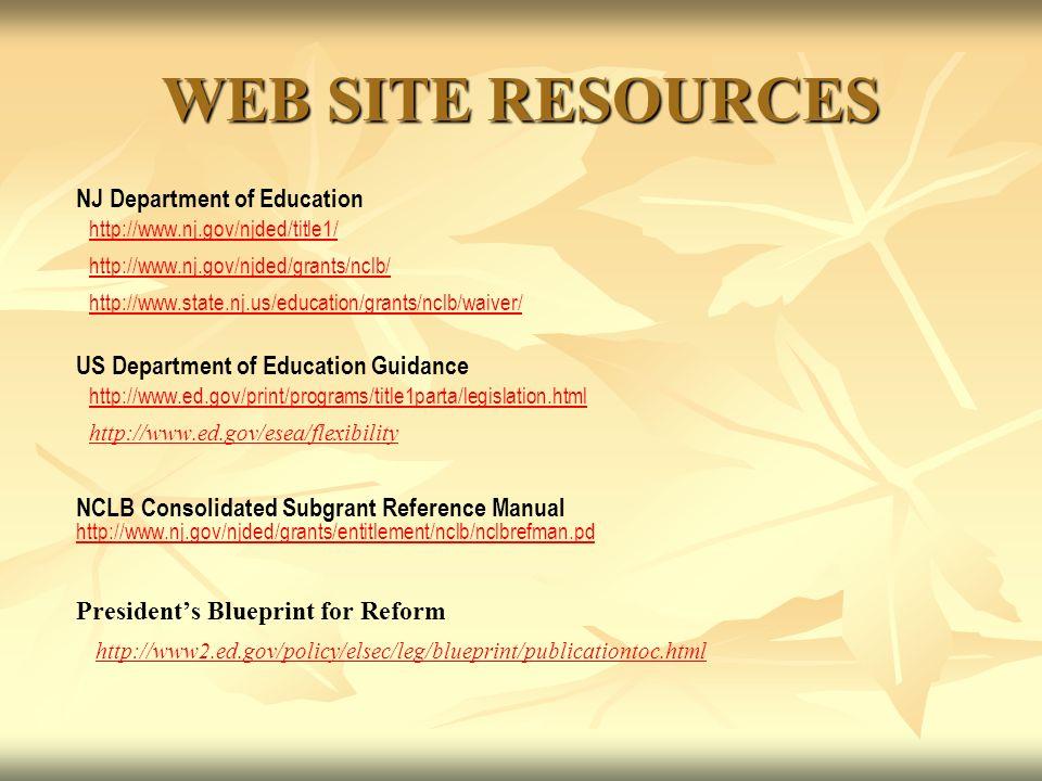 WEB SITE RESOURCES NJ Department of Education http://www.nj.gov/njded/title1/ http://www.nj.gov/njded/grants/nclb/ http://www.state.nj.us/education/grants/nclb/waiver/ US Department of Education Guidance http://www.ed.gov/print/programs/title1parta/legislation.html http://www.ed.gov/esea/flexibility NCLB Consolidated Subgrant Reference Manual http://www.nj.gov/njded/grants/entitlement/nclb/nclbrefman.pd http://www.nj.gov/njded/grants/entitlement/nclb/nclbrefman.pd Presidents Blueprint for Reform http://www2.ed.gov/policy/elsec/leg/blueprint/publicationtoc.html