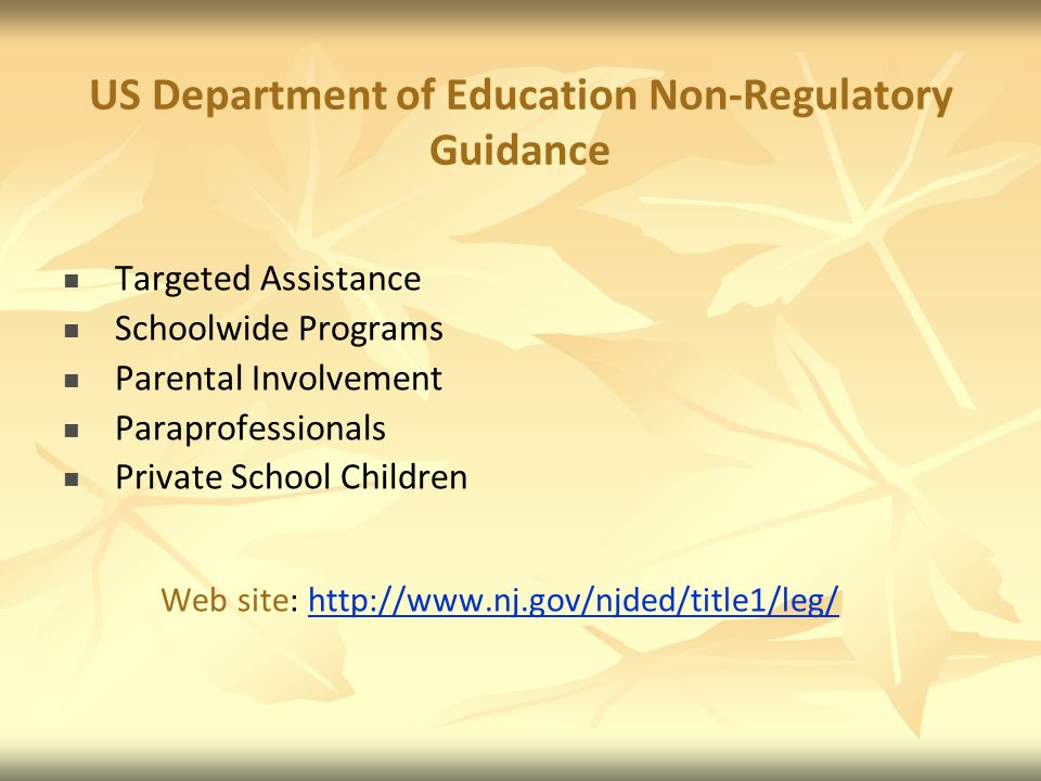 US Department of Education Non-Regulatory Guidance Targeted Assistance Schoolwide Programs Parental Involvement Paraprofessionals Private School Children Web site: http://www.nj.gov/njded/title1/leg/