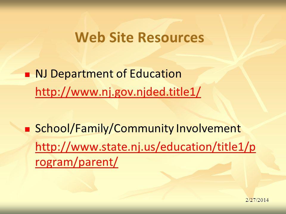 2/27/2014 Web Site Resources NJ Department of Education http://www.nj.gov.njded.title1/ School/Family/Community Involvement http://www.state.nj.us/education/title1/p rogram/parent/