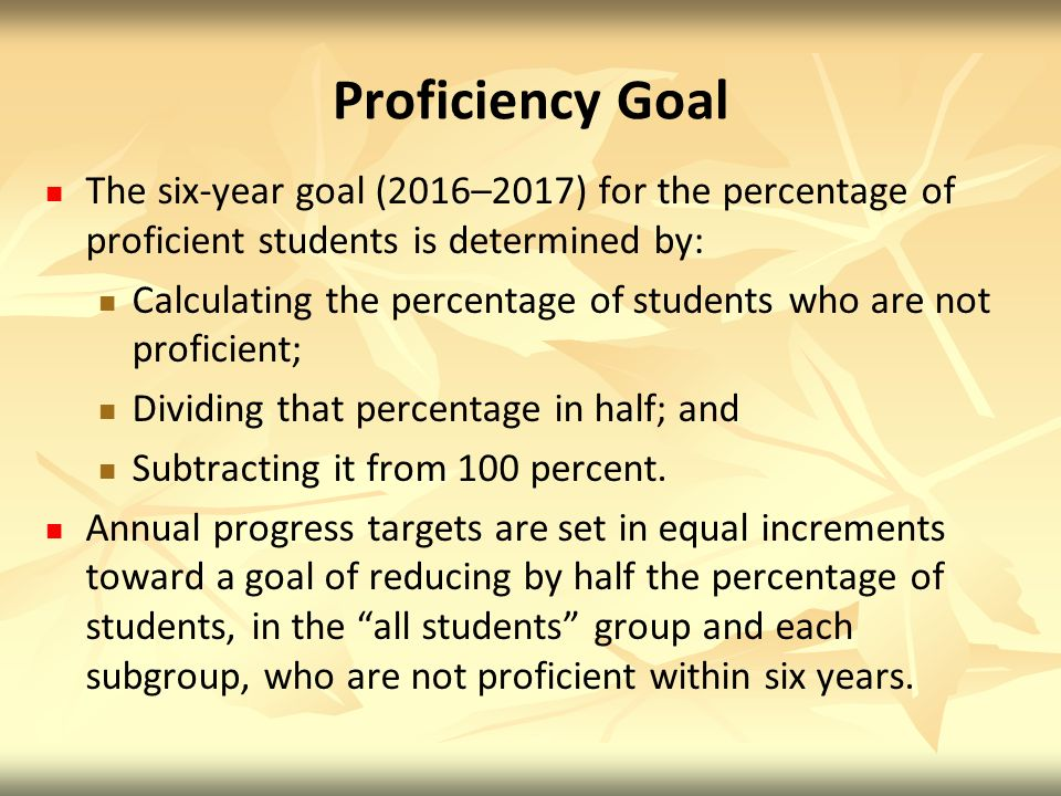 Proficiency Goal The six-year goal (2016–2017) for the percentage of proficient students is determined by: Calculating the percentage of students who are not proficient; Dividing that percentage in half; and Subtracting it from 100 percent.
