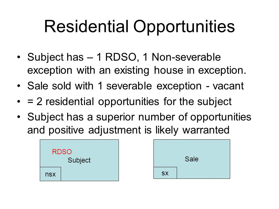 Residential Opportunities Subject has – 1 RDSO, 1 Non-severable exception with an existing house in exception.