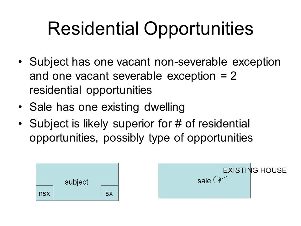 Residential Opportunities Subject has one vacant non-severable exception and one vacant severable exception = 2 residential opportunities Sale has one existing dwelling Subject is likely superior for # of residential opportunities, possibly type of opportunities subject sale nsxsx EXISTING HOUSE