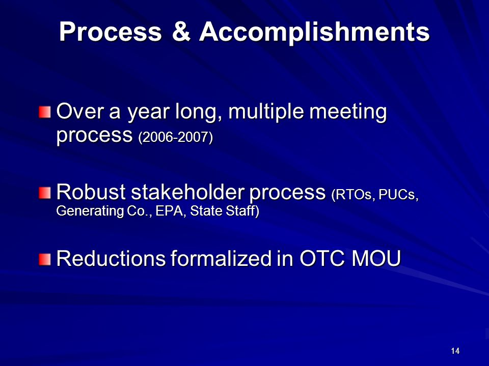 14 Process & Accomplishments Over a year long, multiple meeting process (2006-2007) Robust stakeholder process (RTOs, PUCs, Generating Co., EPA, State Staff) Reductions formalized in OTC MOU