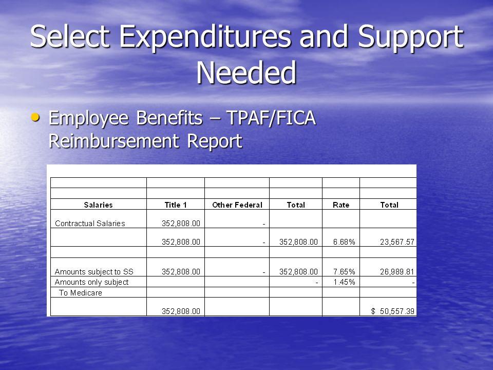 Select Expenditures and Support Needed Employee Benefits – TPAF/FICA Reimbursement Report Employee Benefits – TPAF/FICA Reimbursement Report