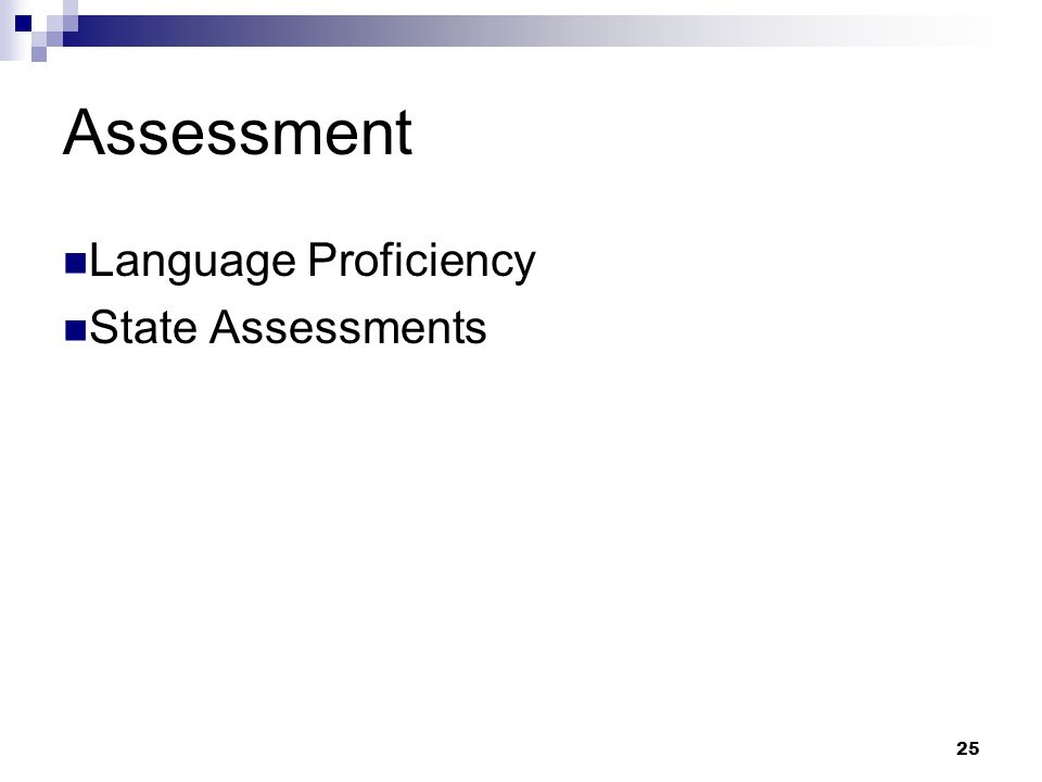 25 Assessment Language Proficiency State Assessments
