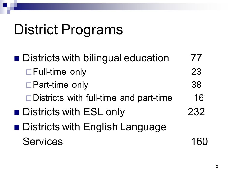 3 District Programs Districts with bilingual education 77 Full-time only 23 Part-time only 38 Districts with full-time and part-time 16 Districts with ESL only 232 Districts with English Language Services 160