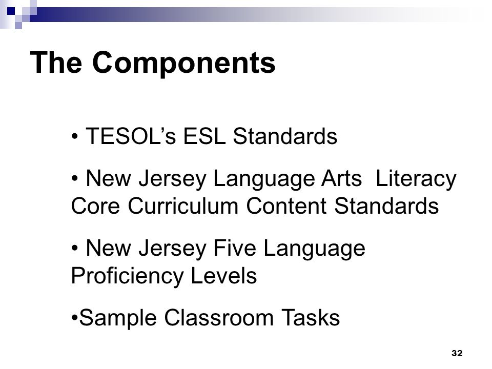 32 TESOLs ESL Standards New Jersey Language Arts Literacy Core Curriculum Content Standards New Jersey Five Language Proficiency Levels Sample Classroom Tasks The Components