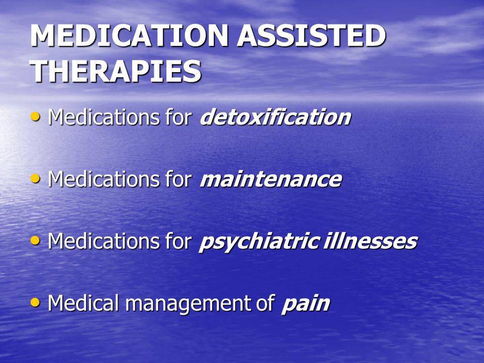 TREATMENT OUTCOME COMPARISONS Alcoholism … 50-70% abstinent Alcoholism … 50-70% abstinent Opioid Dependence … 50-80% abstinent Opioid Dependence … 50-80% abstinent Cocaine Dependence … 50-60% abstinent Cocaine Dependence … 50-60% abstinent Nicotine Dependence … 20-40% abstinent Nicotine Dependence … 20-40% abstinent Diabetes (relapse) … 30-50% stable Diabetes (relapse) … 30-50% stable Hypertension (poor control) … 50-60% Hypertension (poor control) … 50-60% Asthma (multiple ER visits) … 60-80% Asthma (multiple ER visits) … 60-80% (Gaber, Davidson, 1992; McLellan 2002)