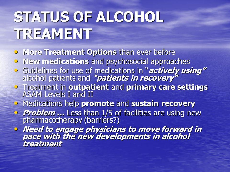 MEDICATIONS FOR MAINTENENCE Buprenorphine ….Opiate dependence Buprenorphine ….Opiate dependence Methadone … Opiate dependence Methadone … Opiate dependence Acamprosate … Alcohol dependence Acamprosate … Alcohol dependence Naltrexone … Alcohol and Opiate dependence Naltrexone … Alcohol and Opiate dependence Vivitrol..........
