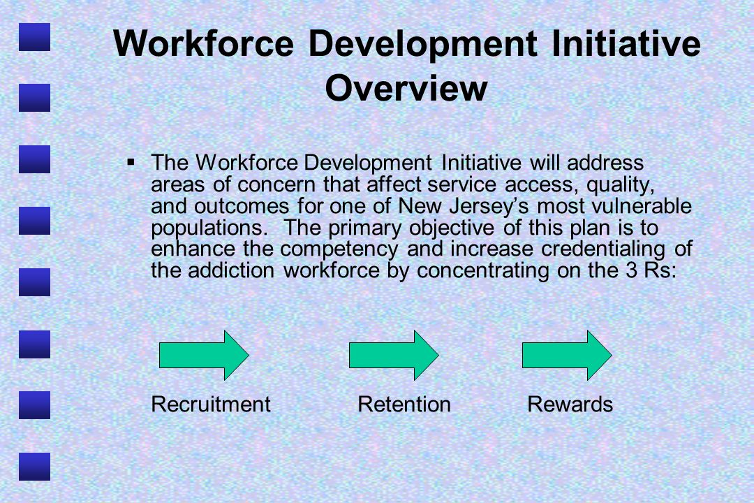 Workforce Development Initiative Overview The Workforce Development Initiative will address areas of concern that affect service access, quality, and outcomes for one of New Jerseys most vulnerable populations.