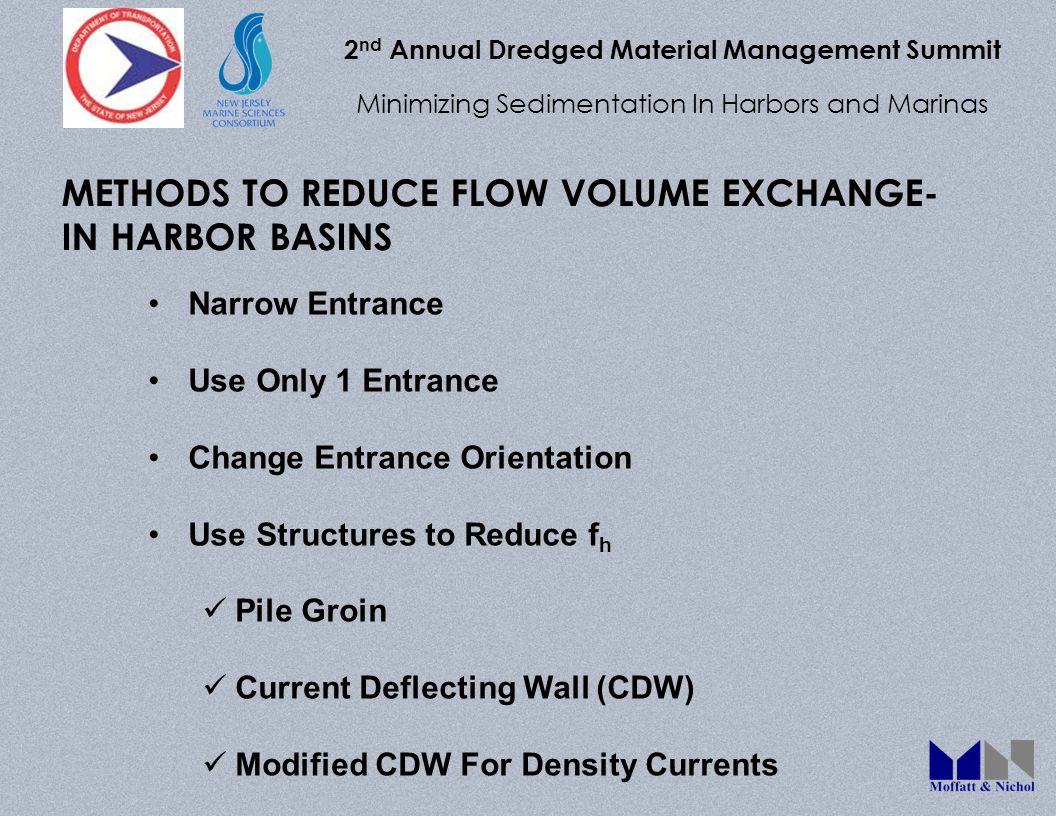 2 nd Annual Dredged Material Management Summit Minimizing Sedimentation In Harbors and Marinas METHODS TO REDUCE FLOW VOLUME EXCHANGE- IN HARBOR BASIN