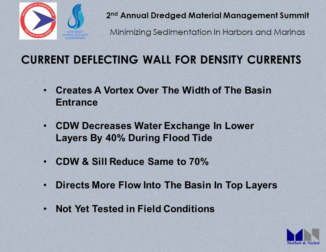 2 nd Annual Dredged Material Management Summit Minimizing Sedimentation In Harbors and Marinas CURRENT DEFLECTING WALL FOR DENSITY CURRENTS Creates A