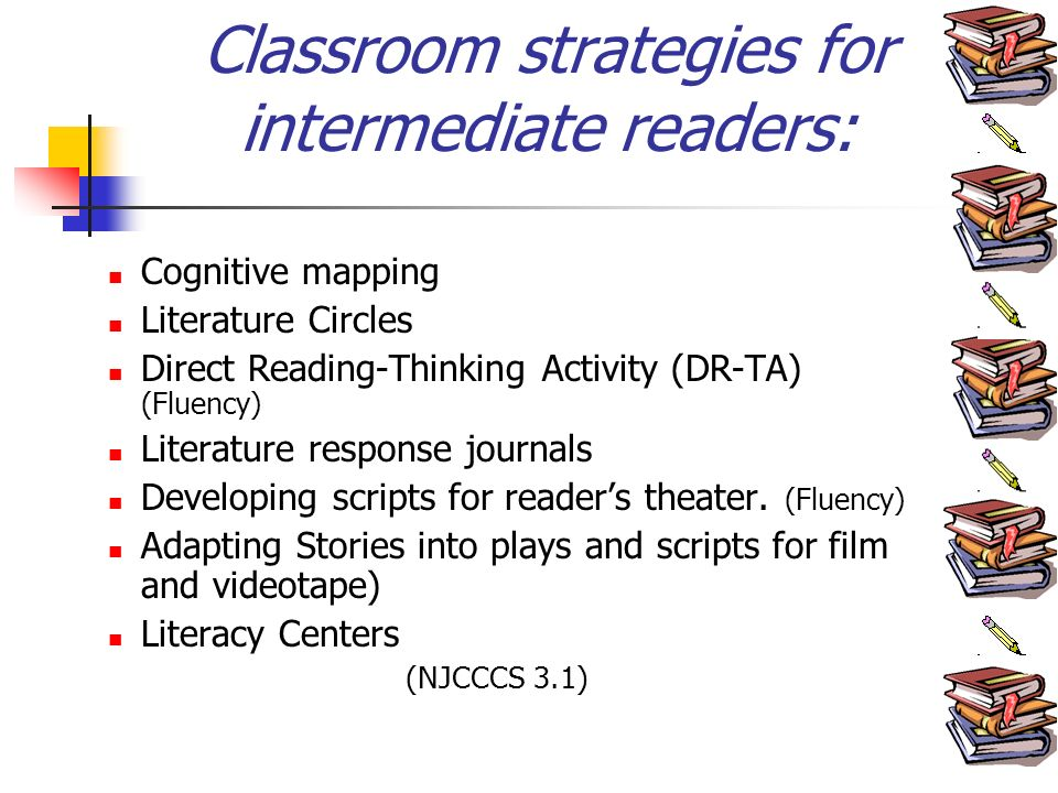 Classroom strategies for intermediate readers: Cognitive mapping Literature Circles Direct Reading-Thinking Activity (DR-TA) (Fluency) Literature response journals Developing scripts for readers theater.
