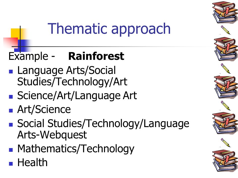 Thematic approach Example - Rainforest Language Arts/Social Studies/Technology/Art Science/Art/Language Art Art/Science Social Studies/Technology/Language Arts-Webquest Mathematics/Technology Health