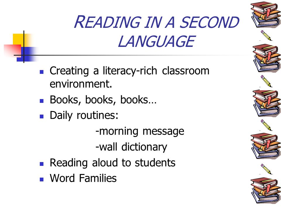R EADING IN A SECOND LANGUAGE Creating a literacy-rich classroom environment.