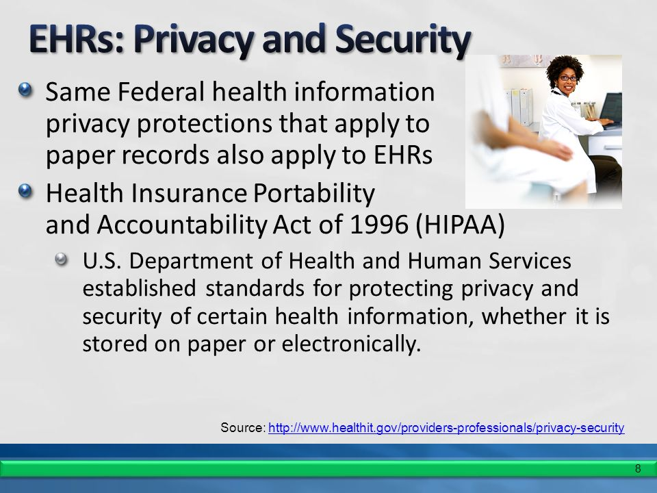 8 Same Federal health information privacy protections that apply to paper records also apply to EHRs Health Insurance Portability and Accountability Act of 1996 (HIPAA) U.S.
