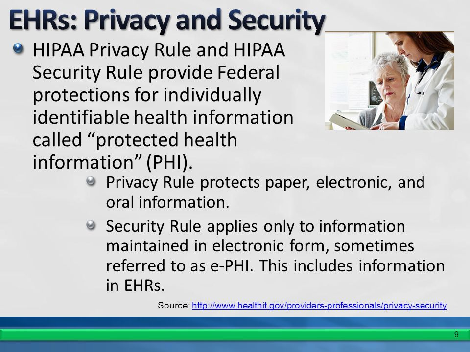 9 HIPAA Privacy Rule and HIPAA Security Rule provide Federal protections for individually identifiable health information called protected health information (PHI).