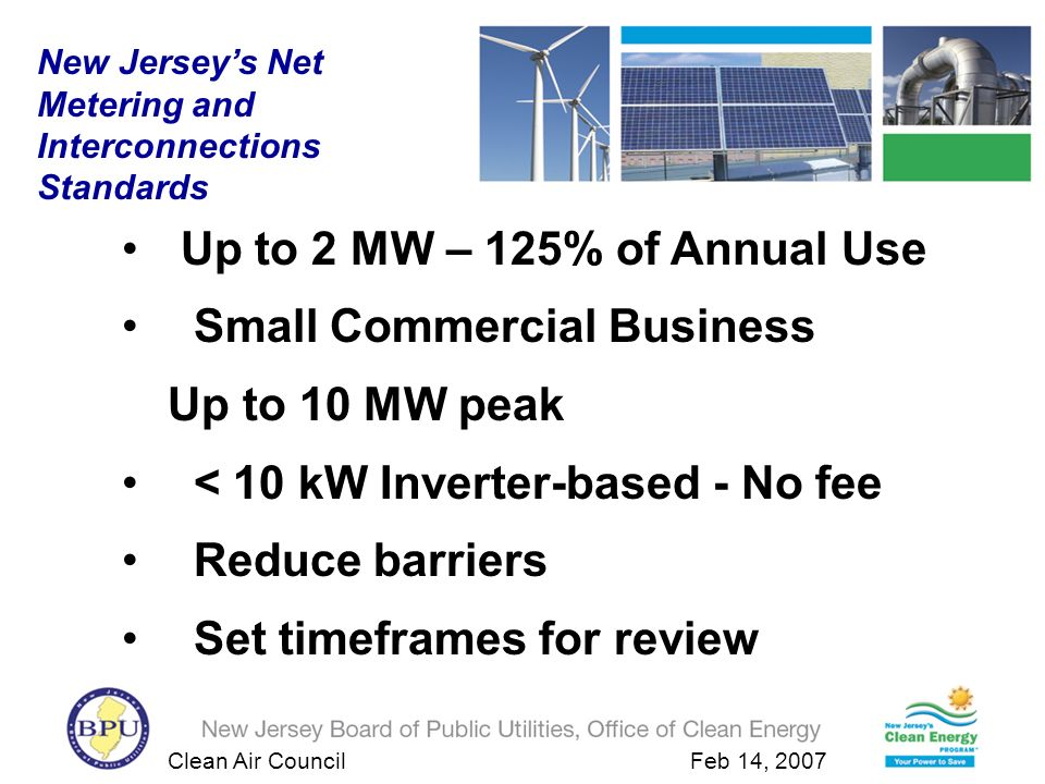 Clean Air Council Feb 14, 2007 Up to 2 MW – 125% of Annual Use Small Commercial Business Up to 10 MW peak < 10 kW Inverter-based - No fee Reduce barriers Set timeframes for review New Jerseys Net Metering and Interconnections Standards