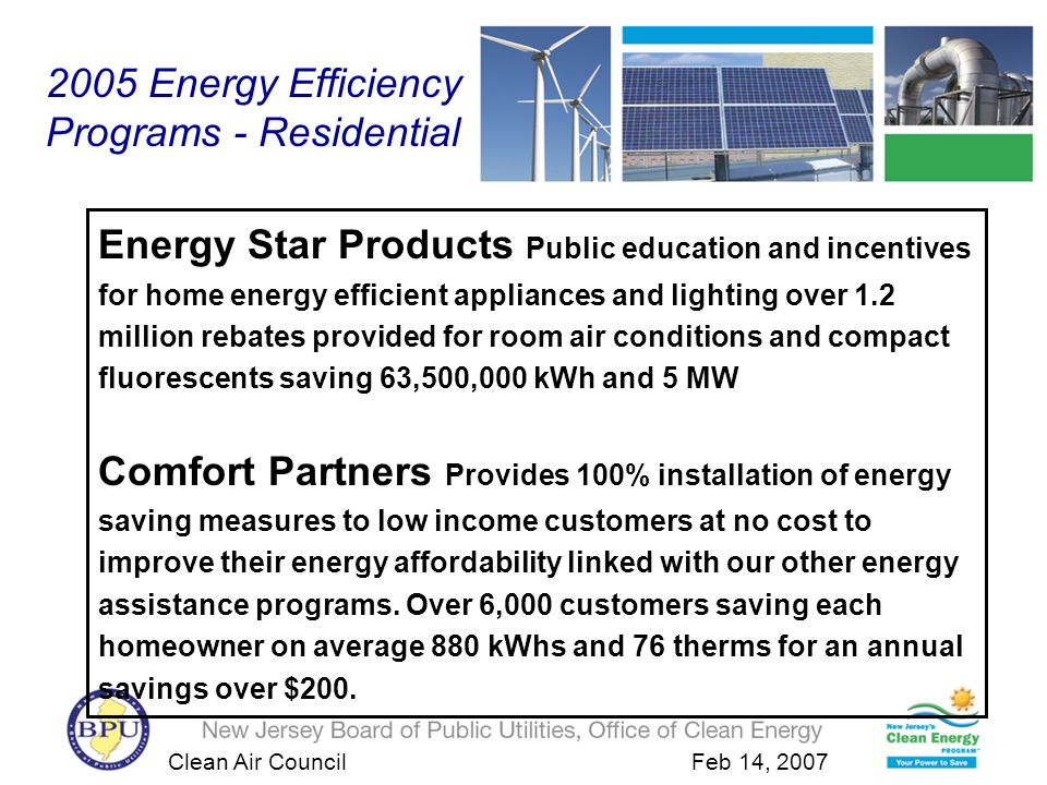 Clean Air Council Feb 14, 2007 2005 Energy Efficiency Programs - Residential Energy Star Products Public education and incentives for home energy efficient appliances and lighting over 1.2 million rebates provided for room air conditions and compact fluorescents saving 63,500,000 kWh and 5 MW Comfort Partners Provides 100% installation of energy saving measures to low income customers at no cost to improve their energy affordability linked with our other energy assistance programs.