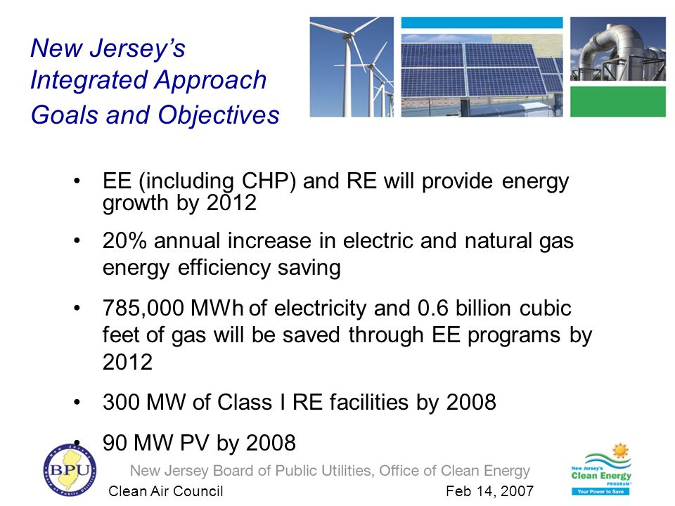 Clean Air Council Feb 14, 2007 Insert Residential Home New Jersey Residential 10 kw Solar Electric System Installed Cost: $77,500 NJCEP Rebate: $0.00 Electric cost savings / Net Metering: $1,500/ yr Out of Pocket Expense : $75,500 Total savings : $1,500 Federal Tax Credit: $2,000 Payback Period: 50.3 yrs assuming a 12,000 kWh annual energy usage