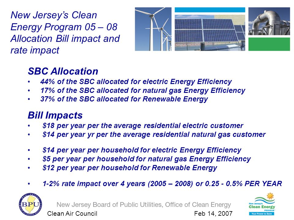 Clean Air Council Feb 14, 2007 New Jerseys Clean Energy Program: www.njcleanenergy.com Rutgers Center for Energy, Economics and Environmental Policy (CEEEP) http://policy.rutgers.edu/ceeep Clean Energy Council – Committees Portfolio Management Work Group State Energy Master Plan and Energy data management New Jerseys Integrated Approach