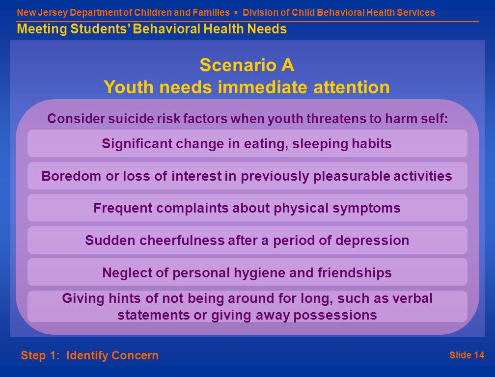 Slide 14 New Jersey Department of Children and Families Division of Child Behavioral Health Services Meeting Students Behavioral Health Needs Step 1: Identify Concern Consider suicide risk factors when youth threatens to harm self: Significant change in eating, sleeping habits Frequent complaints about physical symptoms Neglect of personal hygiene and friendships Boredom or loss of interest in previously pleasurable activities Giving hints of not being around for long, such as verbal statements or giving away possessions Sudden cheerfulness after a period of depression Scenario A Youth needs immediate attention