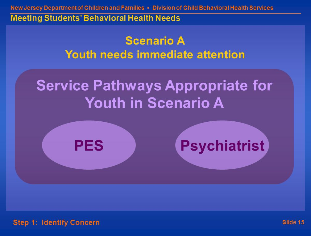Slide 15 New Jersey Department of Children and Families Division of Child Behavioral Health Services Meeting Students Behavioral Health Needs Scenario A Youth needs immediate attention Step 1: Identify Concern Service Pathways Appropriate for Youth in Scenario A PESPsychiatrist