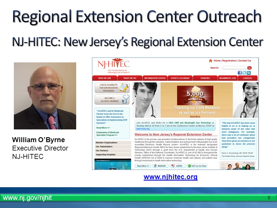 8   William OByrne Executive Director NJ-HITEC