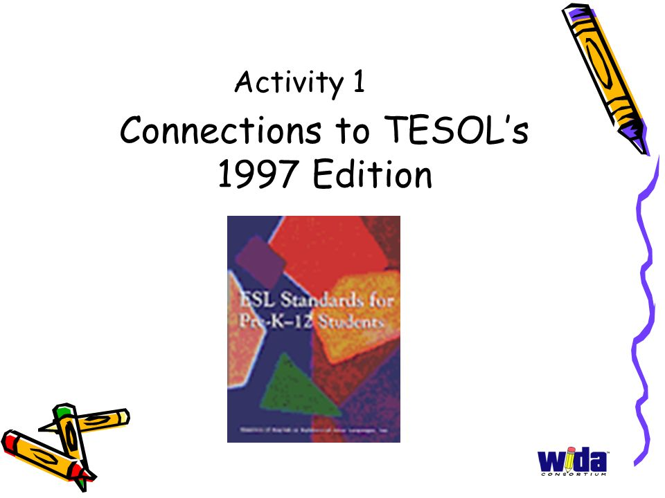 Connections to TESOLs 1997 Edition Activity 1